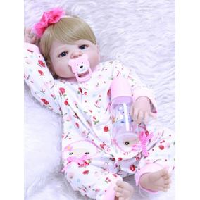 Bebe Reborn Boneca Loira Toda Silicone Menina Realista Linda
