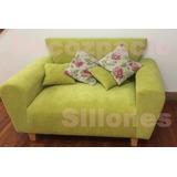 Sofa Modelo Simpson 2cp En Pana Trama-lino-mojito Decozpacio