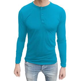 Camiseta Masculina Henley Manga Longa