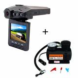Câmera Filmadora Veícular Hd Dvr + Mini Compressor 2,5v