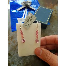 Aros Largos Con Cristal Swarovski Color Rosado Cierre Seguro