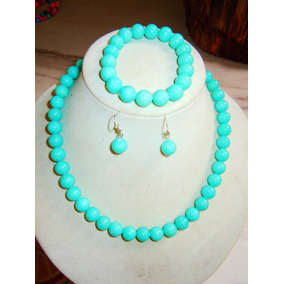 651e2c542a1d Set Jade Color Turkesa 10 Mm Collar Pulsera Aretes