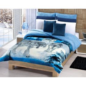 Cobertor Borrega Lobos 2ª Vista Azul Matrimonial/individual