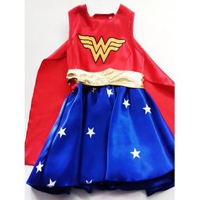 Disfraz Tipo Mujer Maravilla Niña Marvel Super Heroe