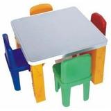 Conjunto De Mesa Infantil Com 4 Cadeiras- Escolas- Creches