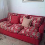 Sillon Sofa 3 Cuerpos Relleno De Plumas Con 6 Almohadons
