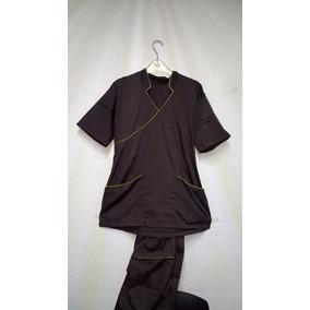 Pijama Quirurjica Mujer Mod. H2-26 Café Obscuro Bies Verde