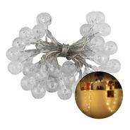 Varal 30 Leds Cordão Bolinha Cristal 3m Luz Amarela Bivolt