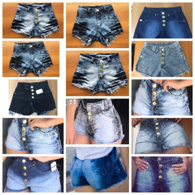 Kit 10 Shorts Jeans Cintura Alta Com E Sem Lycra Atacado