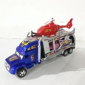 Juguete Camion Gandola Plastico Con Carto Y Elicoptero 25x8