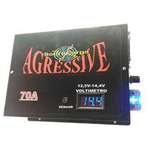 Fonte Carregador 70a Agressive Com Voltimetro 12,5v A 14,4v