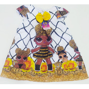 Vestido Infantil Temático Trapézio Básico Da Lol Quee Bee