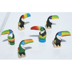 Lote 100 Figuras Tucanes Tallados En Madera Balsa, Ecuador