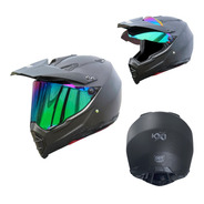 Casco Para Moto Kov Kx1 Carbono Negro Doble Propósito Dot
