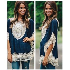 Blusa Fresca Tejido Crochet Vintage Casual Playa Y Verano