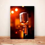 Pôster Retrô Microfone Antigo - Placa Rígida A3 #pvt146a0