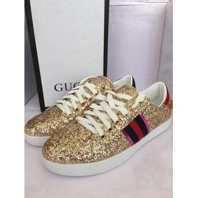 Remate Sneaker Gucci Ace Glitter Golden Dama Envio Inmediato