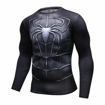Camiseta Compressão Rash Guard Homem Aranha Black Mma Bjj