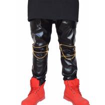Pantalon Cuero Con Cierres Y Cadena Swag 2017