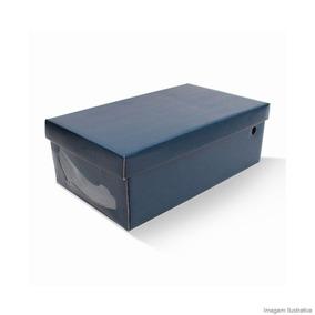 Caixa Organizadora Com Visor Para Sapato Feminino Azul Boxma