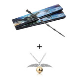 Varita De Sauco Dumbledore Harry Potter 35cm + Collar Snitch