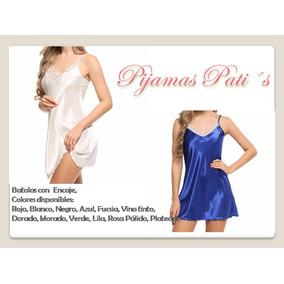 Pijamas En Satín Con Encaje...todos Lo Colores
