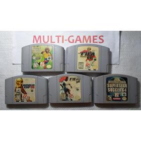 Lote Com 5 Jogos De Futebol Para Nintendo 64 - Fifa 64