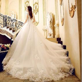 Vl35 Vestido De Noiva Lindo Princesa Renda Pedras Importado