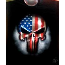 Playera En Aerografia Punisher Usa, Arte, Calavera, Comics