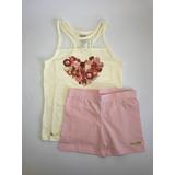 Conjunto Blusa E Short Rosa Planeta Pano - Menina