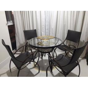 Conjunto Junco Mesa Redonda 4 Cadeiras Area Cozinha Piscina