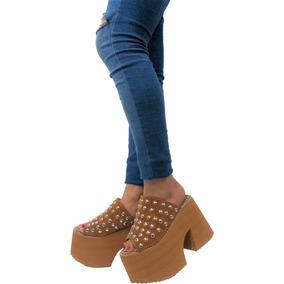 Sandalias Zapatos Mujer Gamuza Tachas Plataforma Livianas
