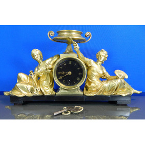 Reloj De Mesa Siglo 19 Diosas Ciencia Y Arte Bronce Y Mármol