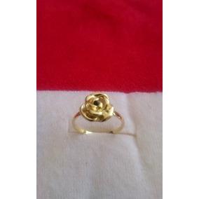 Anillo Flor Con Zirconia Chapa De Oro 18 K Nuevo