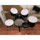 Batería Greggs Percussion Color Negro 6+1 Piezas