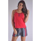 Pijama Multiuso Short Tiras Verano Femenina Mujer C8912
