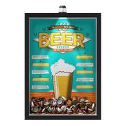 Quadro 33x43 Porta Tampinha Cerveja Com Led  10 Beer Facts