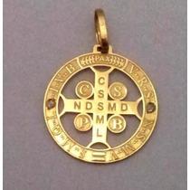 Pingente Cruz São Bento Ouro 18k 750 Com 2 Brilhante