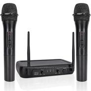 Par De Microfonos Inalambricos Profesionales Base Cable Vhf