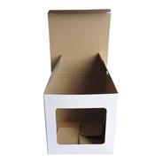 Caja Para Taza 1 Ventana X 50u Packaging Blanco Madera Taz1