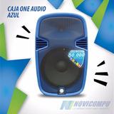 Caja One Audio Azul 15bt 50.000w+usb+pedestal+ 2 Microfonos