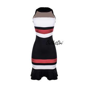 Vestido Gola Alta Gode Tricolor Decote Tule Ziper Costas