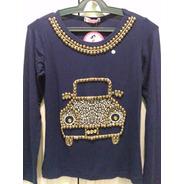Blusa T-shirts Bordada Fusca Manga Longa