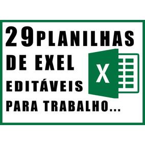 Pacote Com 29 Planilhas Editáveis De Exel Para Trabalho...
