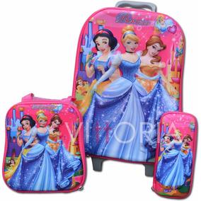 Kit Maleta 6 Ruedas + Lonchera + Cartuchera Princesas Disney