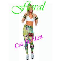 Calça Bandage Estampa / Estampada Floral Outlet Cia Fashion