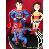 Superhéroes Superman Mujer Maravilla Araña Adorno De Torta