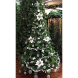 Árbol De Navidad Premium 1,80 + Kit Alambre 60 Pzas Plata .