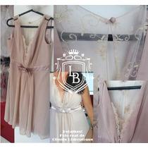 Vestido Festa Nude Curto Lindo Noiva Convidada Pronta Entreg