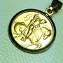 Medalla De San San Jorge Oro 18 K. Garantizado 12 Mm Diam.
